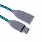 Кабель USB2.0 Qumann USB-Type-C 1,2м 2,4А нейлон/цинк бирюзово-чёрный
