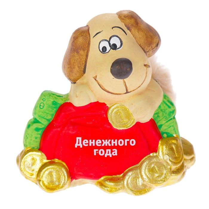 "Керамика фигурка ""Пёс с кошельком"" 7х4,5х6,5 см"