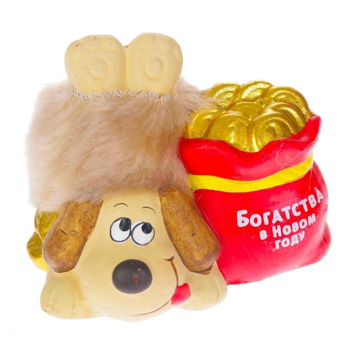 """Керамика фигурка """"Пёс с мешком монет"""" 8х5х7 см"""