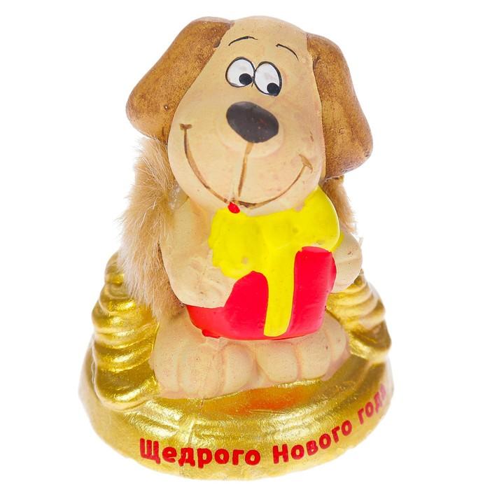 """Керамика фигурка """"Пёс с подарком"""" 6,5х4х7 см"""