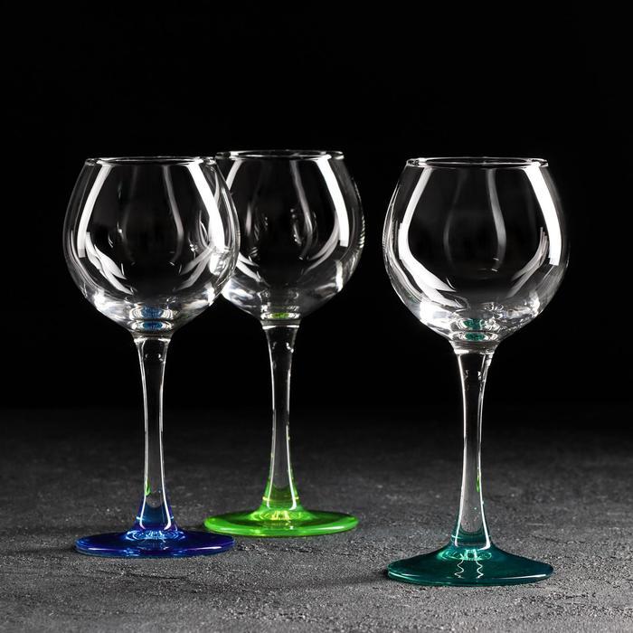 "Набор бокалов для вина 210 мл ""Эдем"", 3 шт, цвет МИКС"
