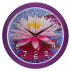 """Часы настенные круглые """"Розовый лотос"""", 29х29см фиолетовый обод"""