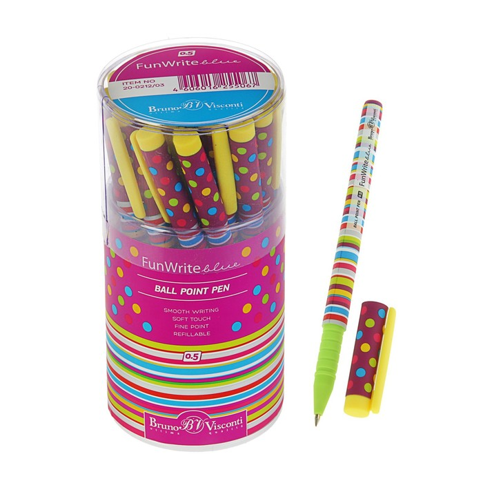 """Ручка шариковая FunWrite """"Полоски"""", узел 0.5 мм, чернила синие"""