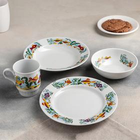 "Набор посуды ""Аквариум"", 4 предмета: тарелка маленькая 20 см, тарелка глубокая 200 мл, миска 350 мл"