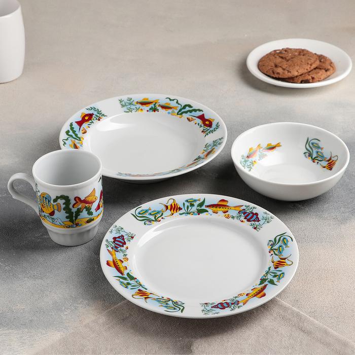 "Набор посуды ""Аквариум"", 4 предмета: тарелка маленькая 20 см, тарелека глубокая 200 мл, миска 350 мл"