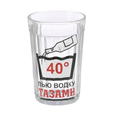 """Стакан граненый """"Пью тазами"""", 250 мл"""