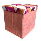 Пуф-куб с нишей для хранения Рыбки 38х38х38, цв. персик, мебельная ткань, пэ100%