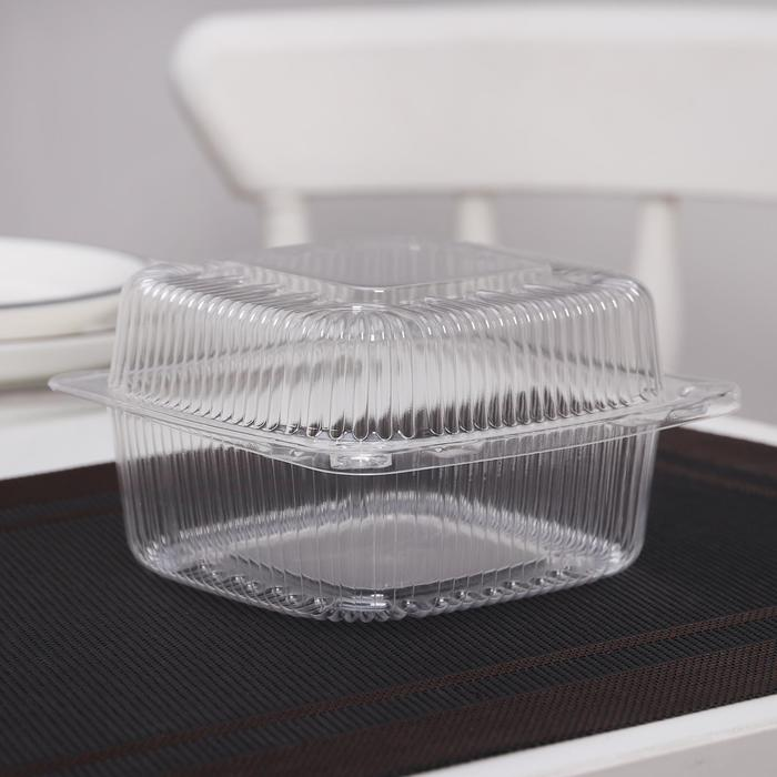 Контейнер с неразъемной крышкой ПР-К9 М, прозрачный 13х13х7,8 см