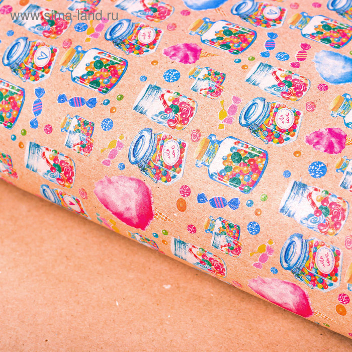 Бумага упаковочная крафтовая «Баночки со сладостями», 50 × 70 см