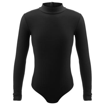 Купальник для фигурного катания, ворот стойка, термобифлекс, размер 30, цвет чёрный