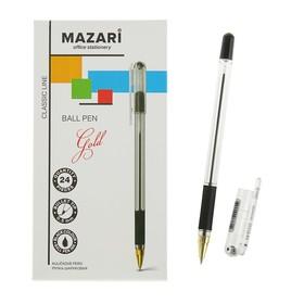 Ручка шариковая GOLD, узел 0.5 мм, чернила чёрные, с резиновым грипом