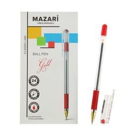 Ручка шариковая GOLD, узел 0.5 мм, чернила красные, с резиновым грипом