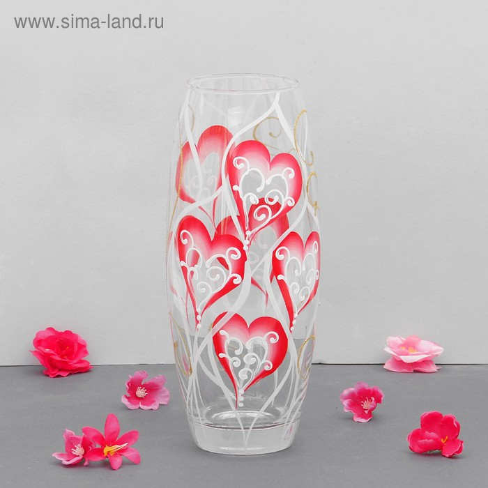 "Ваза ""Розовое сердечко"" прозрачная, d-7,5 см"