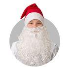 Колпак новогодний с бородой, обхват головы 58 см, плюш, цвет красный