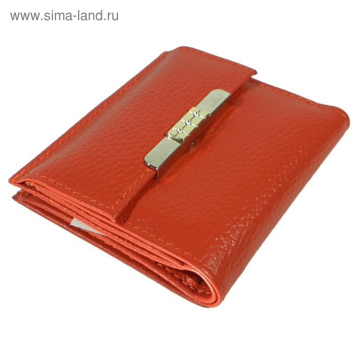 Кошелёк женский на кнопке раскладной,1 отдел для купюр, для монет, для кредитных карт, цвет красный