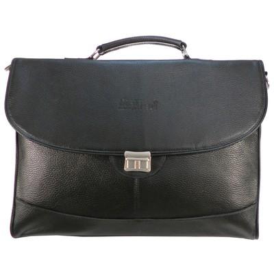 Портфель мужской на клапане, 2 отдела, наружный карман, регулирующий ремень, цвет чёрный