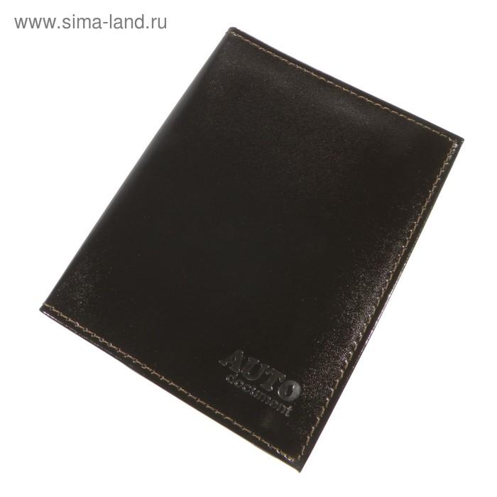 Обложка для автодокументов, отдел для паспорта, цвет коричневый (O-77-88)