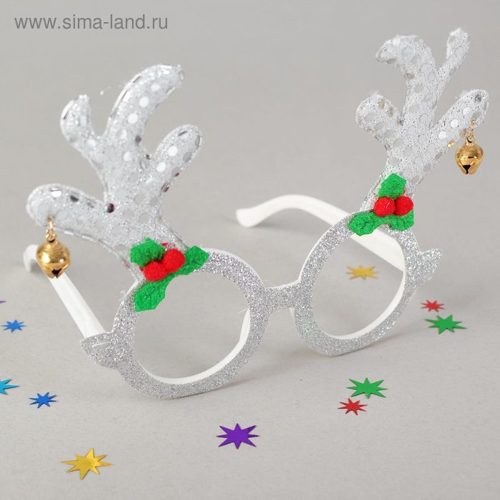 """Карнавальные очки """"Рога"""", цвет белый"""