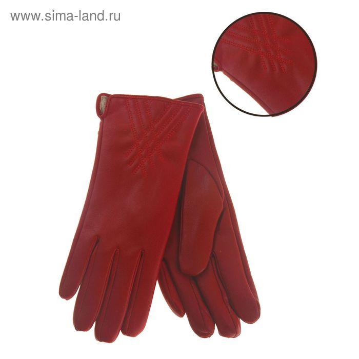 """Перчатки женские """"Виктория"""" рисунок, подклад флис, р-р 8, длина-24см, красный"""