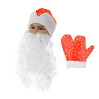 "Набор ""Деда Мороза"" шапка красная со снежинками, борода, варежки, обхват головы 54-58"
