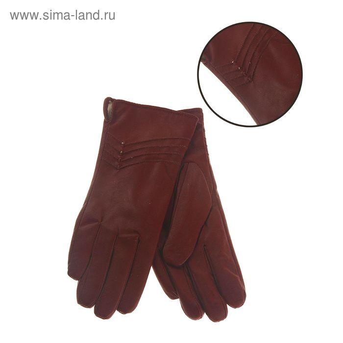 """Перчатки женские """"Птичка"""" вышивка, подклад флис, р-р 8, длина-24см, бордовый"""