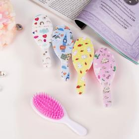 Massage hairbrush, oval, MIX color