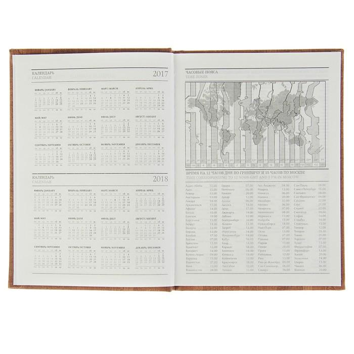 Ежедневник недатированный А5, 128 листов «Корк», пухлая обложка, искусственная кожа, светло-коричневый