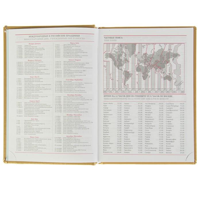 Ежедневник недатированный А5, 160 листов «Виладж», искусственная кожа, золотой