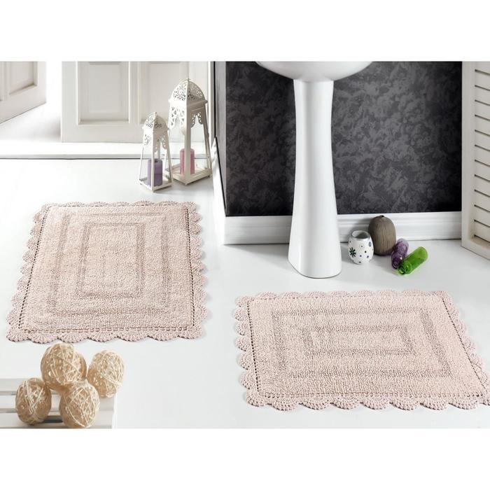 Набор ковриков Evora, 60х100 см-1 шт, 50х70 см-1 шт, цвет пудра 5088