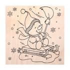 """Доска для выжигания """"Новогодняя"""" снеговик"""