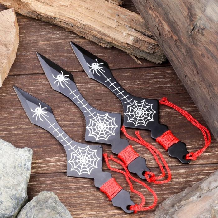 """Набор ножей (3 шт) в красн.оплётке """"Паук"""",лезвие копьеобразное 11,5см, черный, рукоять 4,5см"""
