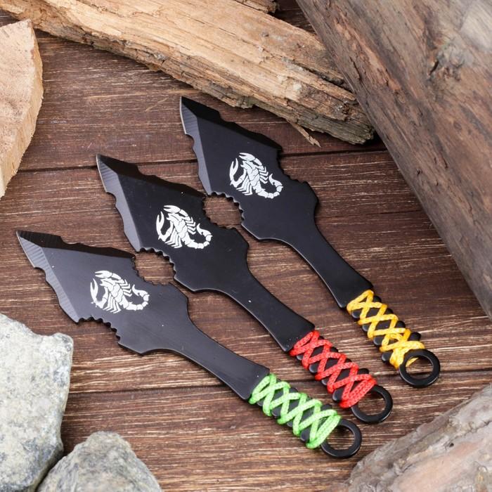 """Набор ножей 3 шт в микс оплётке """"Скорпион""""лезвие копьеобразное 11,5см,черный, рукоять 8,5см"""