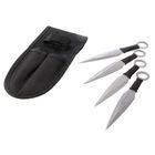 Набор ножей (4шт) в оплётке, лезвие копьеобразное 9,5см, метал, черная оплетка, рукоять 5см