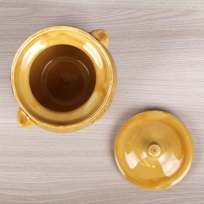 Горшок для запекания 0,5 л, коричневый, рисованный
