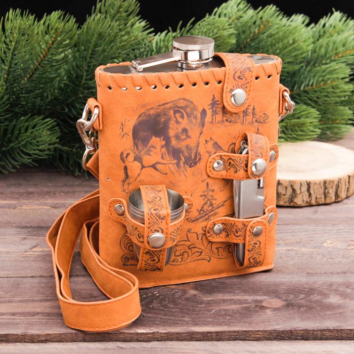"""Туристический набор """"Кабан и собаки"""", фляжка 540 мл, стопки 3 шт, нож-мультитул"""