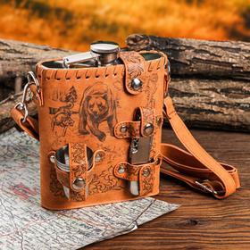 Туристический набор 'Медведь и собаки', фляжка 540 мл, стопки 3 шт, нож-мультитул Ош