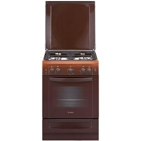Плита Gefest 6100-02 0010, газовая, 4 конфорки, 52 л, газовая духовка, коричневая