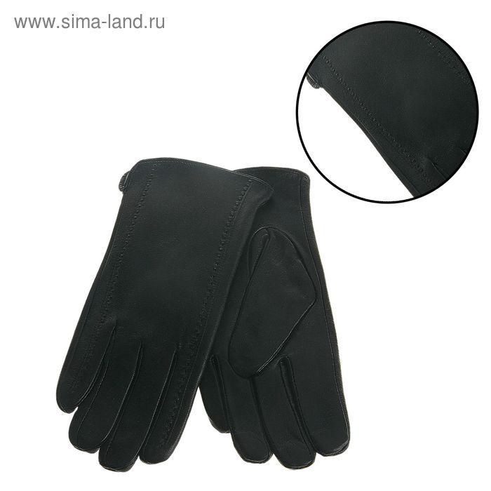 """Перчатки мужские """"Адней"""" 2 строчки, подклад трикотаж, р-р 10, длина-24см, чёрные"""