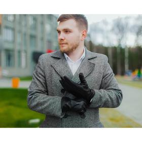 Перчатки мужские, подклад флис, размер 11,5, цвет чёрный