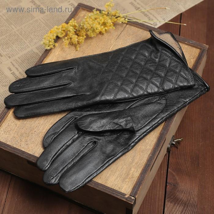 """Перчатки женские """"Антуанет"""" прошивка, подклад трикотаж, р-р 7,5, длина-24см, черный"""