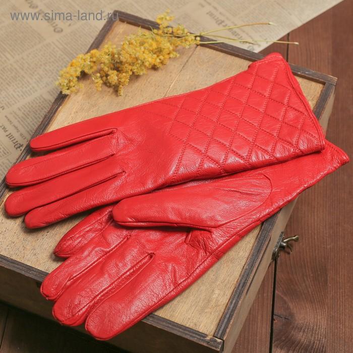 """Перчатки женские """"Антуанет"""" прошивка, подклад трикотаж, р-р 8, длина-24,5см, красный"""