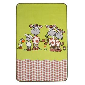 Ковёр велюровый «Коровки NEW», размер 100х150 см, цвет 670 салат, полиамид