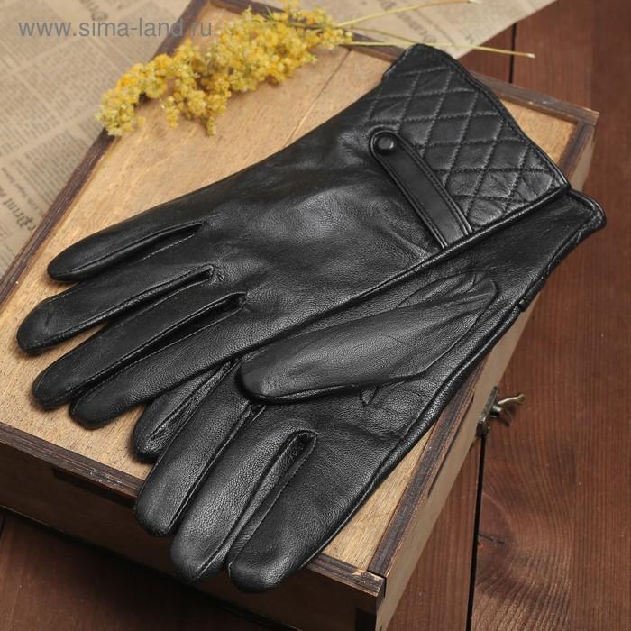 """Перчатки женские """"Элисон"""" прошивка и хлястик, подклад трикотаж, р-р 8, длина-24см, черный"""