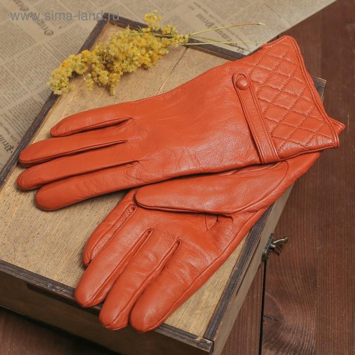 """Перчатки женские """"Элисон"""" прошивка и хлястик, подклад трикотаж, р-р 8,5, длина-24,5см, коричневый"""