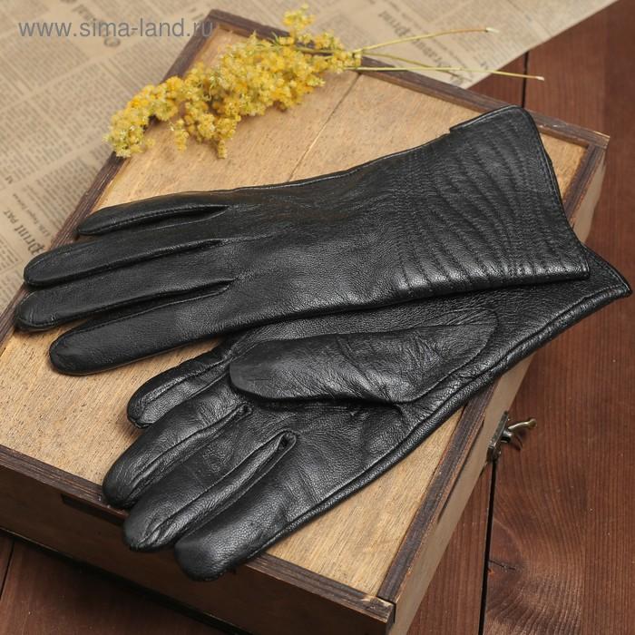 """Перчатки женские """"Мерида"""" прошивка, подклад трикотаж, р-р M, длина-23,5см, черный"""