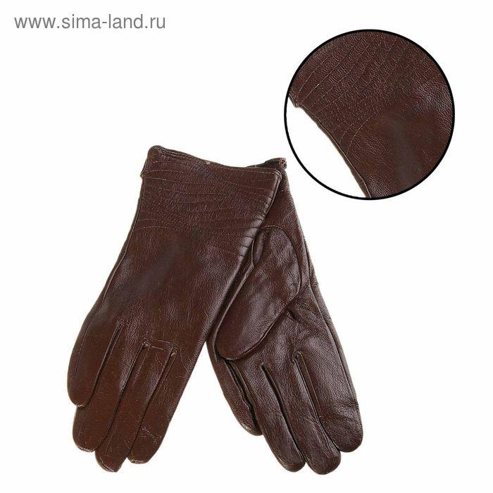 """Перчатки женские """"Мерида"""" прошивка, подклад трикотаж, р-р 8, длина-24см, темно-коричневый"""