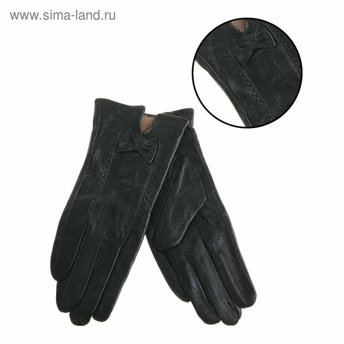 """Перчатки женские """"Миранда"""" прошивка, подклад трикотаж, р-р 8, длина-24см, черный"""