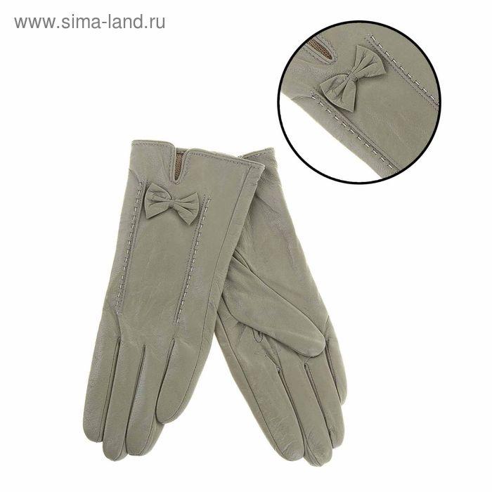 """Перчатки женские """"Миранда"""" прошивка, подклад трикотаж, р-р 8, длина-24см, серый"""