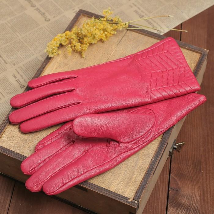 Перчатки женские, прошивка, подклад трикотаж, размерр 8,5, длина-24,5см, цвет малиновый