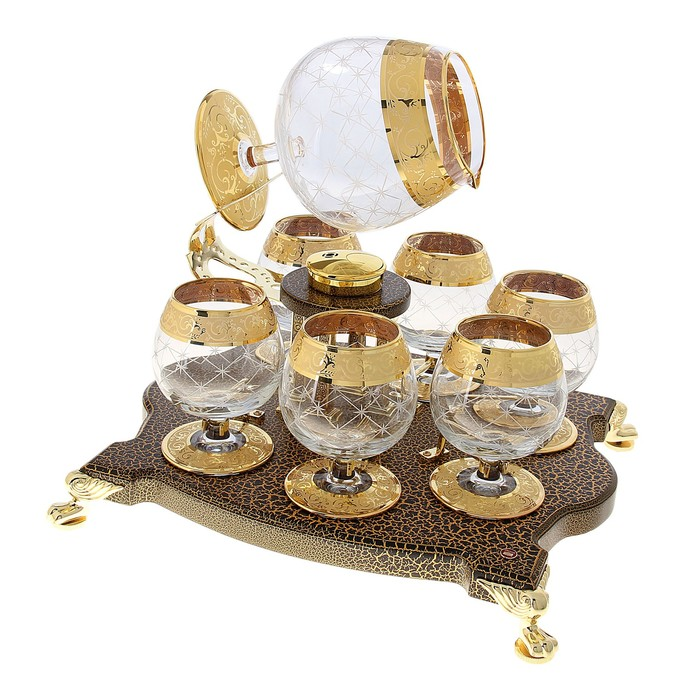 Bonaparte set: 6 glasses for brandy with heating (780 ml, 250 ml).